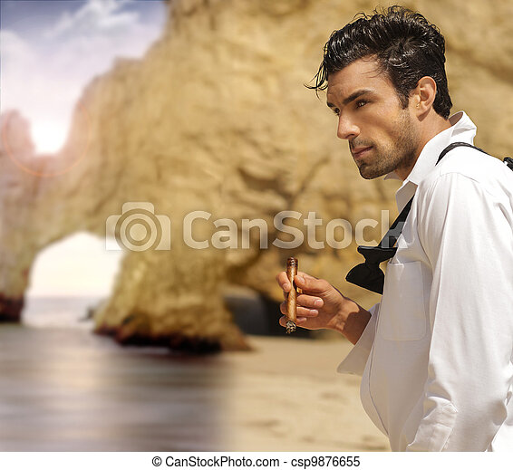 Formal man on beach - csp9876655