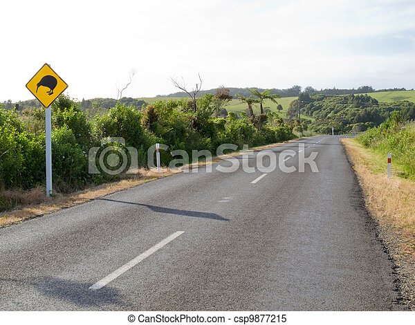 Attention Kiwi Crossing Roadsign at NZ rural road - csp9877215