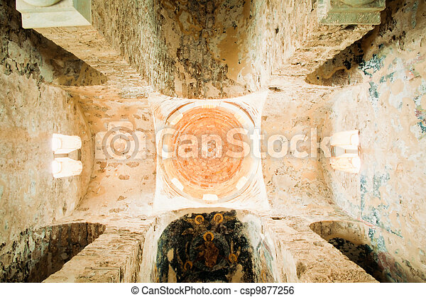 Vaulted ceiling inside historic church in Greece - csp9877256