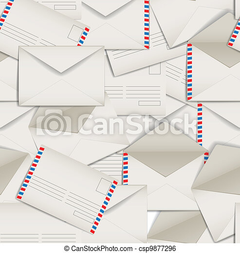 Seamless background of envelopes - csp9877296