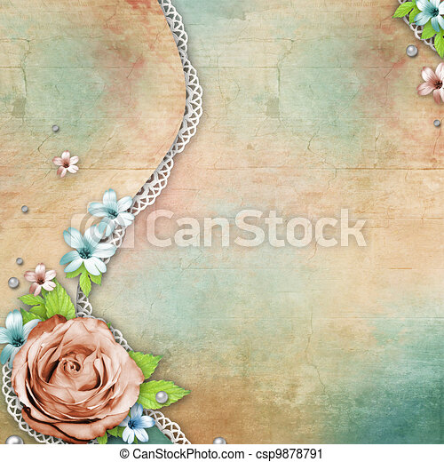 vintage textured background with a bouquet of flowers, lace and pearls - csp9878791