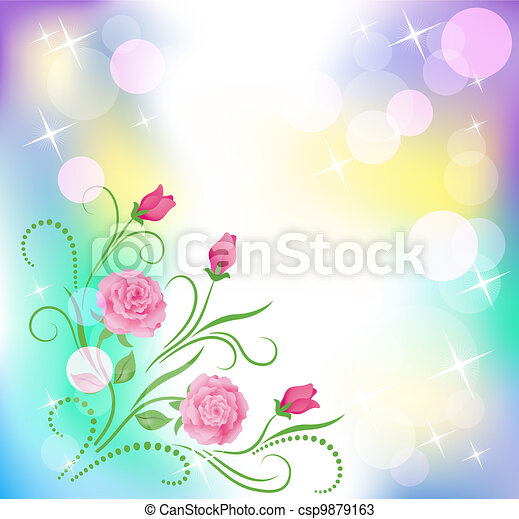 Floral background with boke - csp9879163