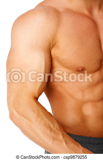 Part of a man's body on a white - csp9879255