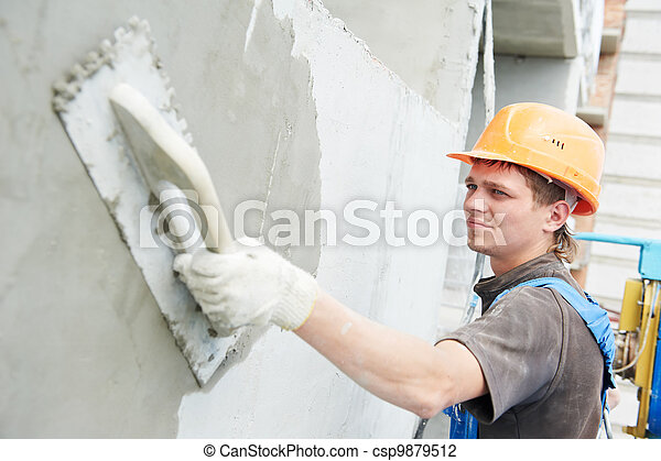 facade builder plasterer at work - csp9879512