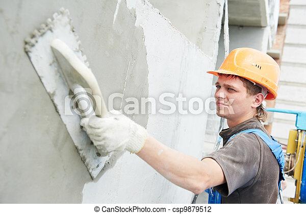 facade builder plasterer at work - csp9879512