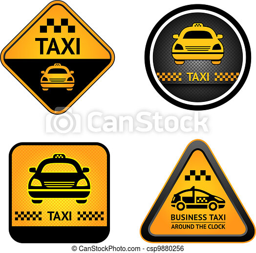 Taxi cab set stickers - csp9880256