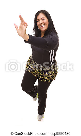 Attractive Hispanic Woman Dancing Zumba on White - csp9880430