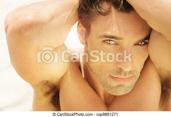 Beautiful man face - csp9881271