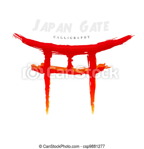 Japan Gate calligraphy. Abstract symbol of hand-drawn - csp9881277