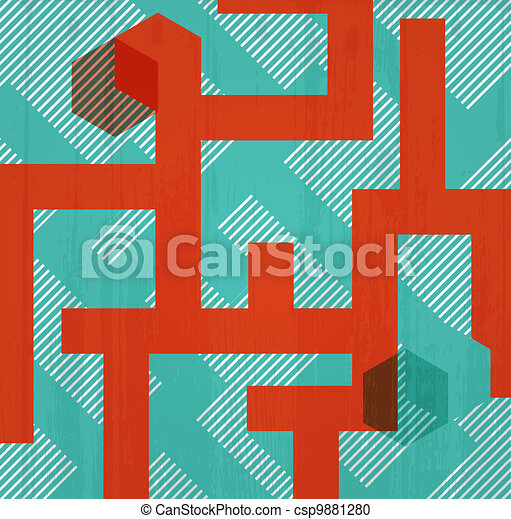 Abstract retro background in form of labyrinth. Book cover - csp9881280