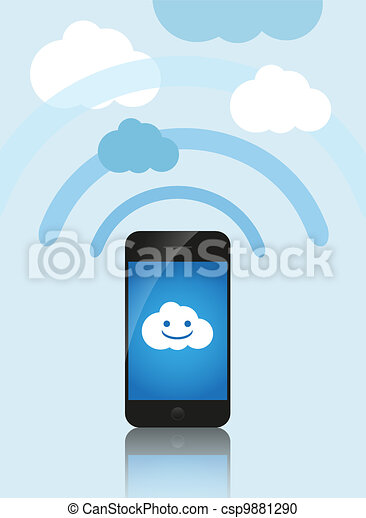 Cloud computing concept. Mobile phone makes contact with a cloud server. - csp9881290