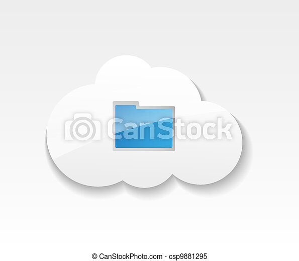 Cloud computing. Symbol of clouds and folder with documents. Concept of storing and transmitting information - csp9881295