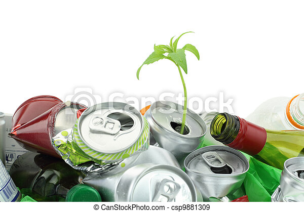 Environmental conservation concept. Garbage with growing plant - csp9881309