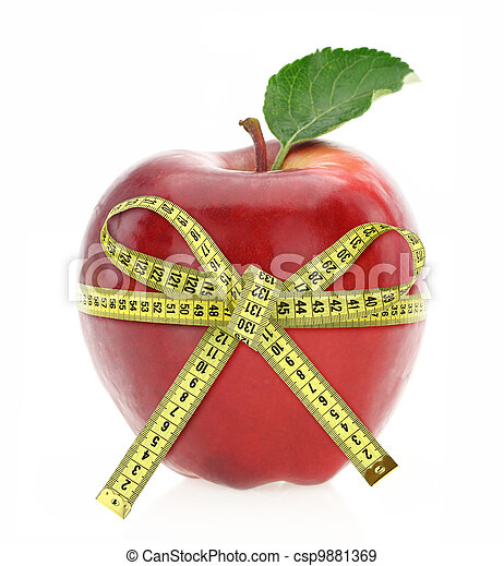 Diet concept. Apple with measuring tape - csp9881369