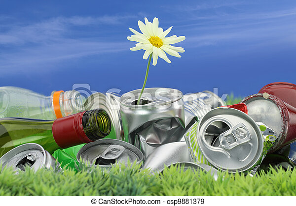 Environmental conservation concept. Garbage with growing daisy  - csp9881379