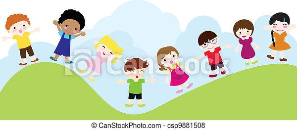 happy children background - csp9881508