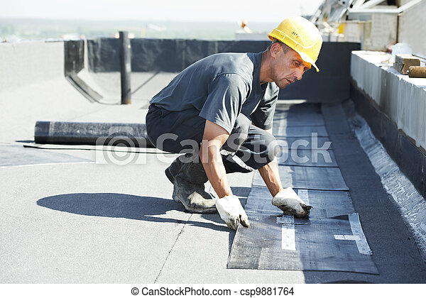 Flat roof covering works with roofing felt - csp9881764