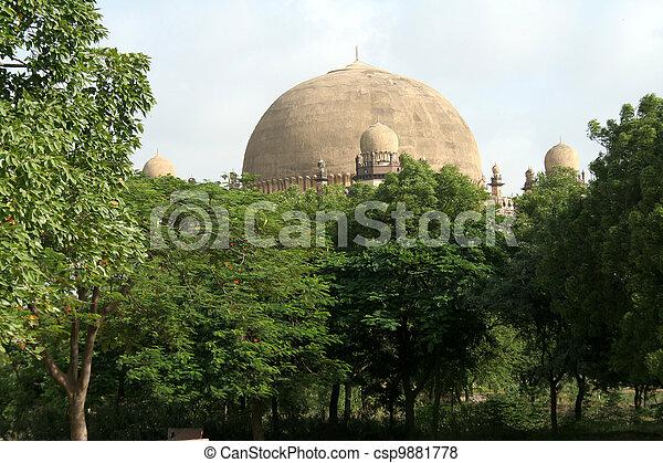 Dome behind Greenery - csp9881778