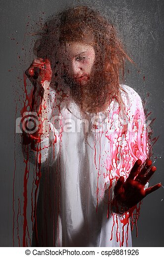 Horror Themed Image With Bleeding Freightened Woman - csp9881926