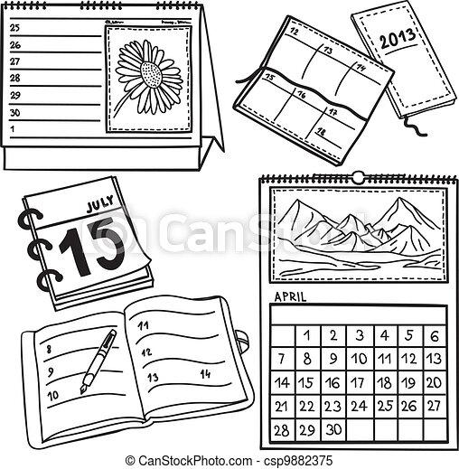 Set of calendars - hand-drawn illustration - csp9882375