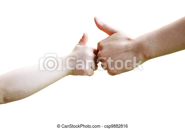 Adult and child hands one in front of the other making the thumbs up sign on a white background . - csp9882816