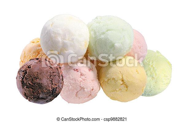 Scoop of fruit ice cream isolated on white background - csp9882821