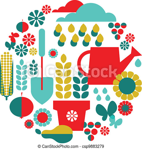 background of garden objects; organic set - csp9883279
