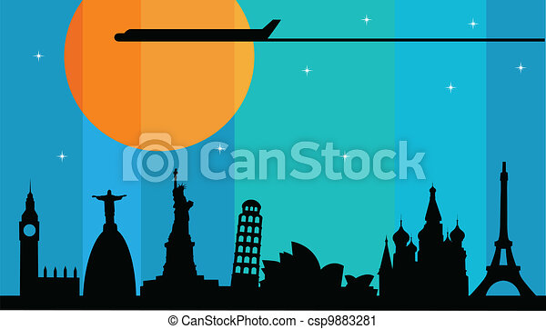 plane flying over main world cities - csp9883281