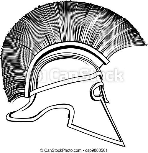 Black and White Ancient Greek Warrior Helmet - csp9883501