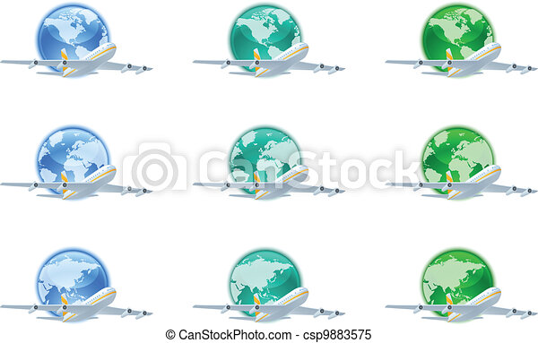 Earth globes with planes - csp9883575