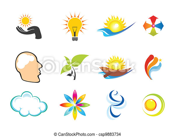 bstract multiple business icons  - csp9883734