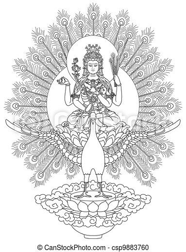 Mahamayuri Buddhist Deity - csp9883760