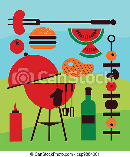 Illustration of backyard barbecue scene - csp9884001