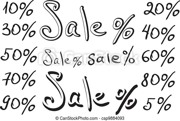 Sale, numbers and percentages - csp9884093