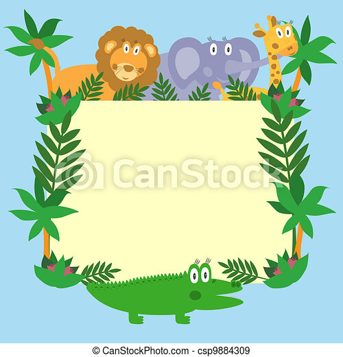 Cute safari cartoon animals - lion, giraffe, crocodile and elephant - csp9884309