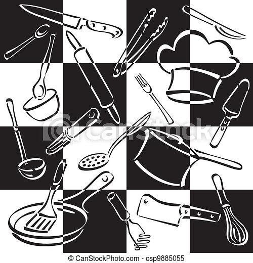 Kitchen Tools Checkerboard - csp9885055
