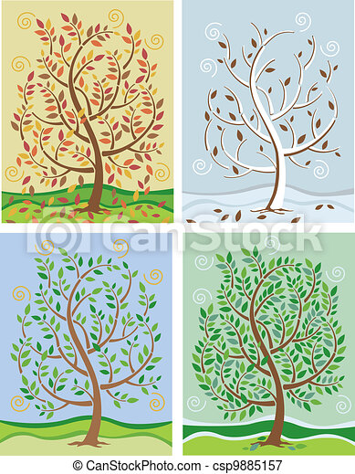 Tree In Four Seasons - csp9885157