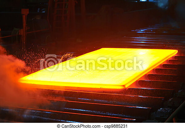 hot steel on conveyor - csp9885231