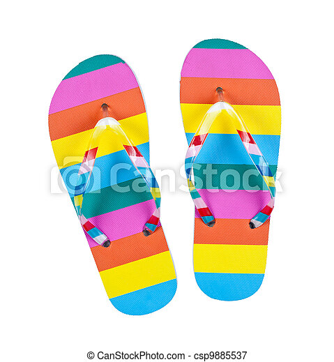 Colourful flip flops isolated on white - csp9885537