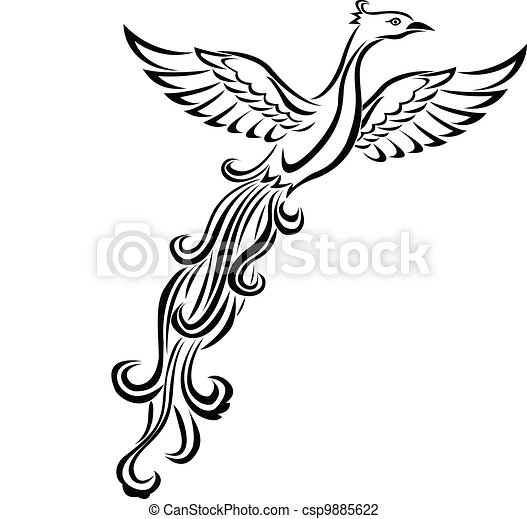 Phoenix bird tattoo  - csp9885622