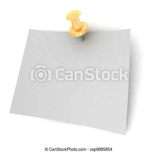Fixed sheet of paper on white background - csp9885854