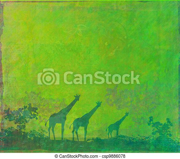 African fauna and flora , raster - csp9886078