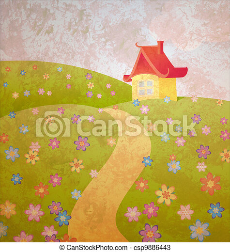 grunge old paper cartoon illustration with house and flower field - csp9886443