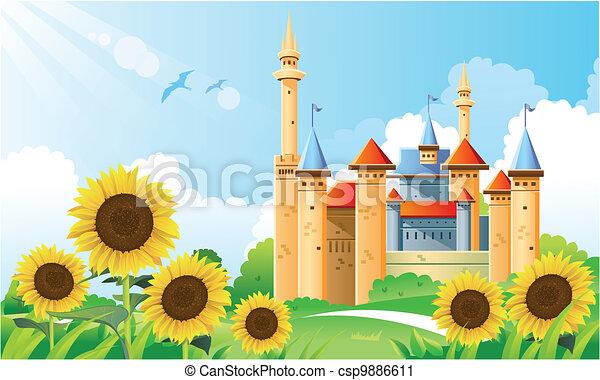 Summer Castle Background - csp9886611