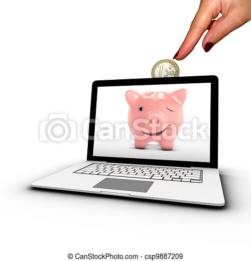 Woman's hand inserting a coin into a laptop. Concept of online bank placement. - csp9887209