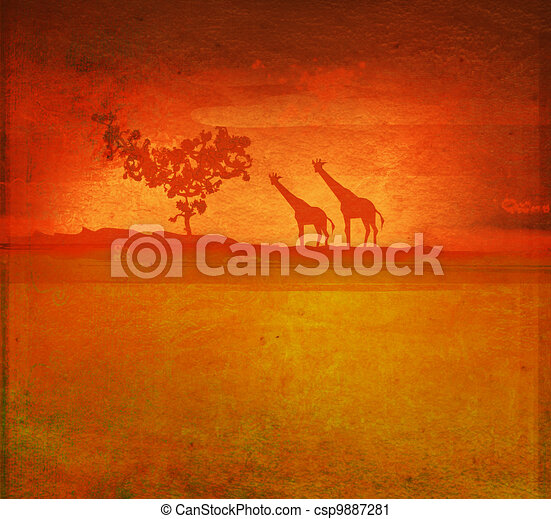 African fauna and flora - csp9887281