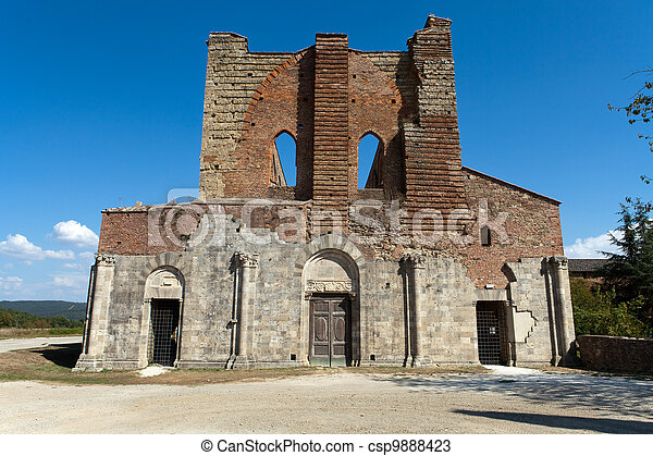 The Facade of the Abbey of San Galgano, Tuscany - csp9888423