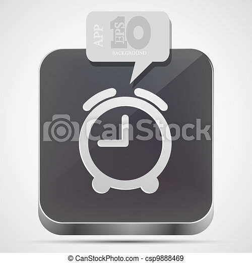 Vector alarm clock app icon with gray bubble speech. Eps10 - csp9888469
