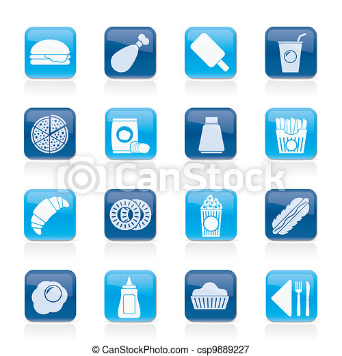 fast food and drink icons - csp9889227