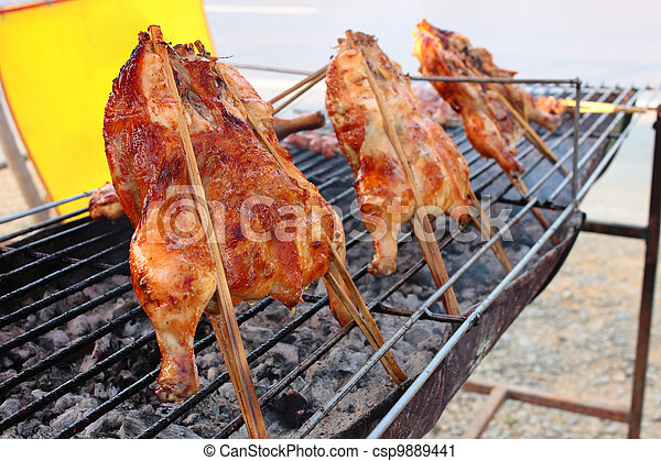 Grilled chicken on the hot charcoal - csp9889441